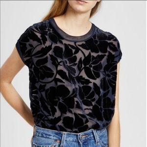 Theory Navy Burnout Velvet Floral Short Sleeve XS